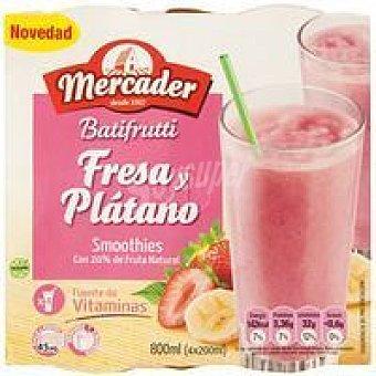 MERCADER Batifrutti de fresa-plátano Pack 4x190 ml