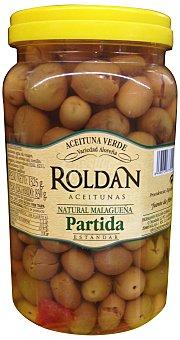 Roldan Aceituna aloreña (malagueña) verdes, partidas y aliñadas (tapa amarilla) Tarro 800 g escurrido