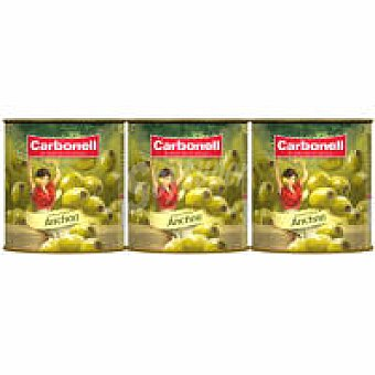 Carbonell Aceitunas rellenas de anchoa Pack 3x50 g