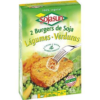 Sojasun Hamburguesa de soja y verduras 100% vegetal 2 unidades envase 200 g 2 unidades