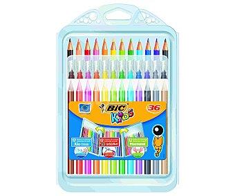 Bic Caja con 12 rotuladores lavables, 12 lápices de colorear y 12 ceras duras, todas ellas de diferentes colores 1 unidad