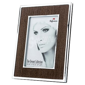 HOFMANN Portafoto Metálico en metal y madera 10 x 15 cm