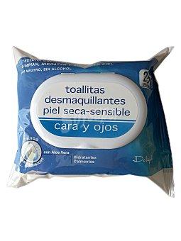 Deliplus Toallitas faciales desmaquilladoras piel sensible (color azul) Paquete 25 u