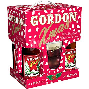 GORDON Xmas Cerveza rubia escocesa Scotch Ale pack 4 botellas 33 cl + vaso de regalo Pack 4 botellas 33 cl