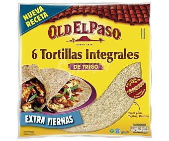 Old El Paso Tortillas mejicanas integrales de trigo, ideal para fajitas y burritos 350 gramos
