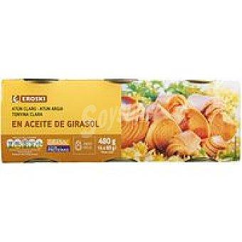 Eroski Atún claro en aceite de girasol Pack 6x80 g