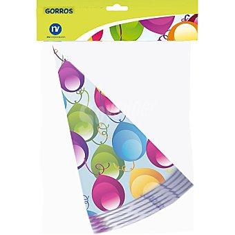 NV CORPORACION Gorros de fiesta decorados con globos envase 6 unidades Envase 6 unidades
