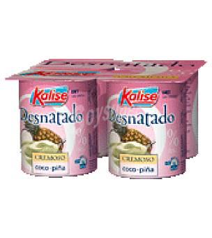 Kalise Yogur desnatado sabor coco/piña Pack de 4x125 g