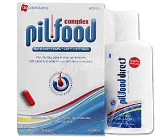 PILFOOD Complex Tratamiento con vitaminas, aminoácidos y extracto de mijo para el cabello y uñas, 120 Comprimidos