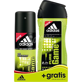ADIDAS Pure Game desodorante for him + gel de baño frasco 250 ml gratis spray 150 ml