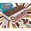 Sándwich de galleta al cacao con helado de vainilla con chips de chocolate 4 unidades estuche 260 g 4 unidades Kalise