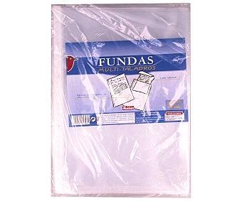 Auchan Fundas transparentes de tamaño folio, lomo reforzado y 11 taladros 50 unidades