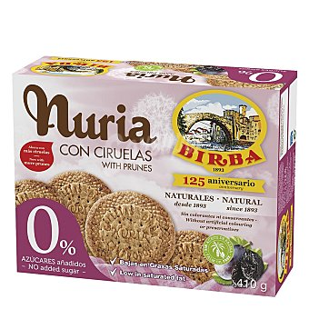 Nuria Galletas 0% azúcar añadido sabor ciruela 410 g