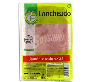 Productos Económicos Alcampo Jamón cocido de calidad extra, sin gluten y cortado en lonchas 200 gr