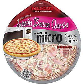 PALACIOS pizza de jamón y queso con bacon ahumado para microondas envase 370 g