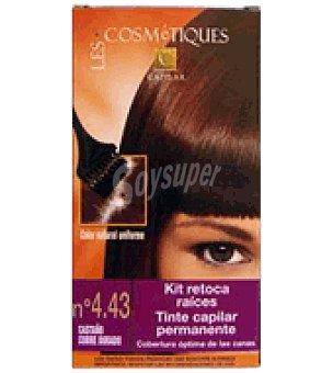 Les Cosmetiques Kit retoca raíces tinte capilar permanente Castaño cobrizo nº 4.43 1 unidad
