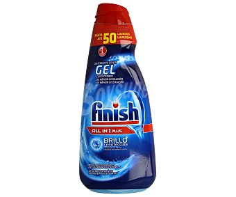 Finish Detergente lavavajillas todo en 1 Plus en gel concentrado brillo y protección del cristal Botella 50 dosis