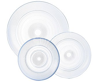 Luminarc Vajilla completa de 18 piezas redondas fabricada en vidrio transparente, Louison luminarc