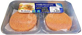 CALADERO HAMBURGUESAS FRESCAS DE PESCADO (MERLUZA Y SALMON) BANDEJA 4 unidades ( 360 g )