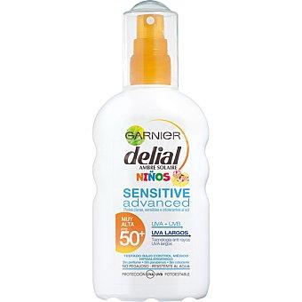 Delial Garnier Advanced protector solar niños FP-50 resistente al agua para pieles claras sensibles e intolerantes al sol Sensitive spray de 200 ml