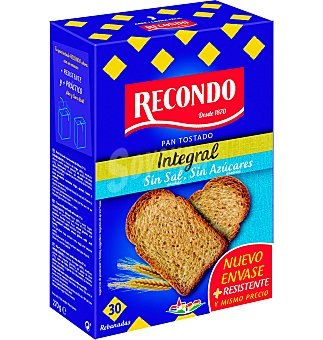 SIN AZUCAR Pan tostado recondo integral sin sal y 30 UNI
