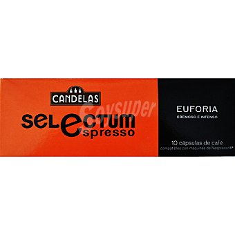 CANDELAS SELECTUM Euforia Café espresso 10 cápsulas intensidad 8 paquete 55 g compatibles con máquinas de café Nespresso 10 c