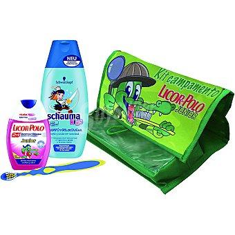 LICOR DEL POLO Junior kit campamento con dentífrico con elixir 2 en 1 sabor fresa + cepillo de dientes + champú & gel de ducha Schauma Kids + neceser + champú & gel de ducha Schauma Kids + neceser