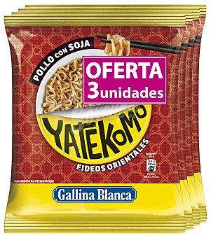 Yatekomo Gallina Blanca Fideos orientales pollo con soja sobre 237 g Pack 3 unidades