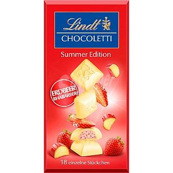 LINDT CHOCOLETTI Chocolate blanco relleno de fresa edición de verano tableta 100 g Tableta 100 g