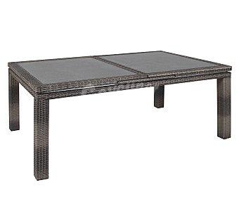 Profiline Mesa extensible con estructura de aluminio recubierto de mimbre semicircular y tapa de la mesa de cristal templado de 5 milímetros, 170/200x100x77 centímetros 1 unidad
