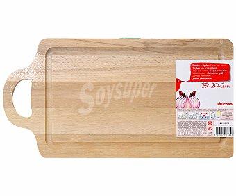 Auchan Tabla de madera con surco para cortar 39x20x2 centímetros 1 Unidad