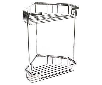 Tatay Estantería cestillo rinconera de acero inoxidable para baño de 2 alturas, 20x15x27 centímetros 1 Unidad
