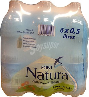 FONT NATURA Agua mineral natural 6 botellas de 500 ml