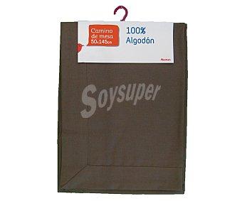 Auchan Camino de mesa color marrón liso, algodón, 50x145 centímetros 1 Unidad