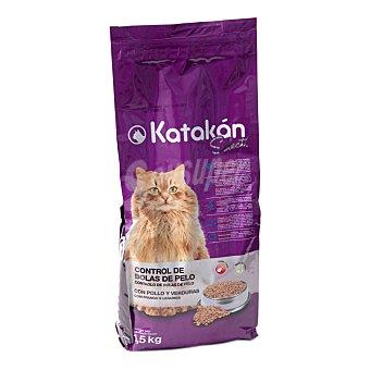 KATAKÁN Comida para gato Select control de bolas de pelo para gatos con pollo y verduras  Bolsa de 1.5 kg