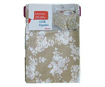 AUCHAN Mantel estampado color beige, 100% algodón, 150x150 centímetros 1 Unidad
