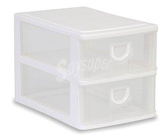 ARAVEN Torre de ordenación modelo Mobel Kit A5 con 2 cajones altos, fabricada en plástico de color blanco translúcido 1 Unidad