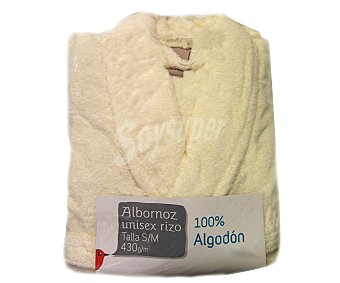 AUCHAN Albornoz de rizo americano unisex color crema talla mediana 1 Unidad