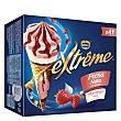 Conos de helado de nata y fresa, con sirope de fresa extréme Pack 4 x 120 ml Helados Nestlé