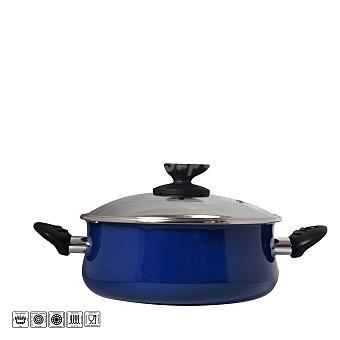 Magefesa Cacerola con tapa de acero esmaltado Mod Danubio 24 cm azul 1 ud