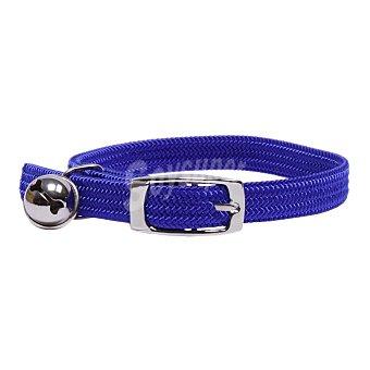 San Dimas Collar de nylon elástico para gato con cascabel color azul medidas 10x300 mm 1 unidad