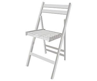 MOBILKIT Silla plegable, fabricada en madera barnizada con acabado en blanco, 98x46x4.2 centímetros Silla plegable madera