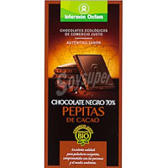 Intermón Oxfam Chocolate negro 70% con pepitas Tableta 100 g
