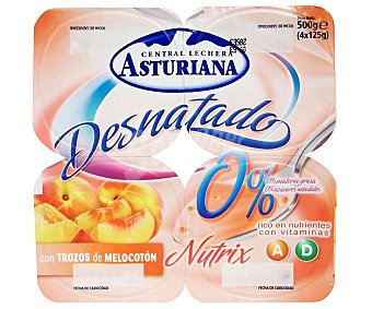 Central Lechera Asturiana Yogur Desnatado con Melocotón 4x125g
