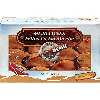 Remo Mejillones en escabeche fritos 12-14 piezas Lata 70 g neto escurrido