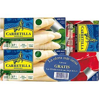 Carretilla espárragos blancos 5-7 piezas neto escurrido con regalo de pimientos del piquillo lata 150 g neto escurrido pack 2 lata 250 g