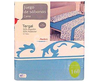 Auchan Juego de sábanas etampadas, modelo Robledo en tonos turquesa para cama de 160 centímetros, 1 unidad