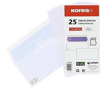 Kores Paquete de 25 sobres de tamaño 115 x 225 mm, peso de /m² y de color blanco kores 90 g