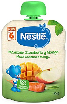 Naturnes Nestlé Manzana zanahoria y mango 100% natural con vitamina C formato bolsita pouche  90 g