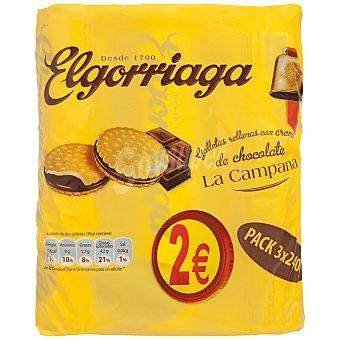 Elgorriaga Galletas rellenas con crema de chocolate La Campana (pack 3 x 240) estuche 720 g Estuche 720 g